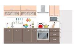 厨房现代内部和家具在白色背景 免版税库存图片