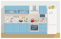 厨房现代内部和家具 免版税库存图片