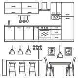 厨房现代家具 图库摄影