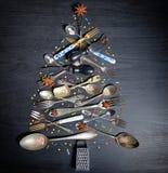 厨房用具圣诞树 库存照片