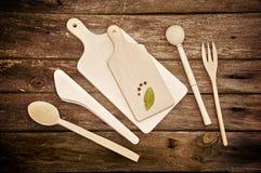 厨房用工具加工木 免版税库存照片
