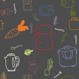厨房电子和食物的无缝的样式 库存照片