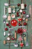 厨房的乡村模式或木葡萄酒圣诞节背景 免版税库存照片