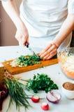 厨房的妇女切开沙拉的菜 节食和戒毒所博士 库存图片