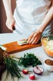 厨房的妇女切开沙拉的菜 节食和戒毒所博士 库存照片