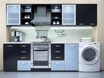 厨房的室内设计有洗衣机的 库存例证
