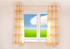 厨房窗帘 库存照片