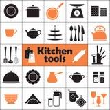 厨房被设置的工具象 免版税库存照片