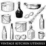 厨房集合器物葡萄酒 皇族释放例证