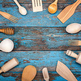 厨房集合器物 烹调的辅助部件 库存照片