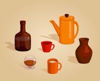 厨房集合器物 免版税库存图片