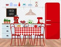 厨房,减速火箭的样式的餐厅室内设计  传染媒介平的例证 被隔绝的传染媒介对象 免版税库存照片