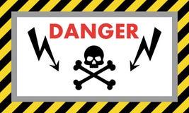 去危险高保留电压 与头骨样式和箭头的警报信号 也corel凹道例证向量 库存例证