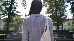 去大学的年轻大学生,走在楼上在有树的公园 股票视频