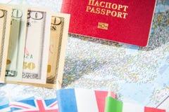 去旅行 护照,金钱,希腊,英国,意大利,地图的法国的旗子 存金钱在旅行,计划对预算概念 库存图片