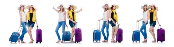 去暑假的妇女隔绝在白色 免版税库存图片