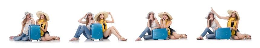 去暑假的妇女隔绝在白色 库存图片