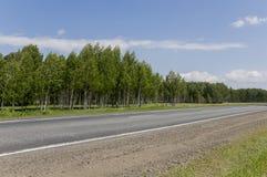 去横跨山和绿色森林的柏油路 树和他们的阴影在草 与天空蔚蓝的晴朗的夏日 ural 免版税图库摄影