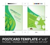 去的绿色明信片模板 库存图片