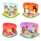去野餐在公园例证套的野餐传染媒介人幸福家庭朋友可爱的夫妇人妇女孩子男孩或 皇族释放例证