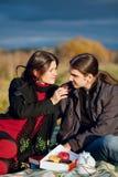 去野餐在域的夫妇 免版税库存图片