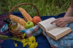去野餐本质上在夏天,篮子用食物 有a的少妇 免版税库存图片