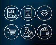 去除帐户、评论和被检查的演算象 Wifi,交付购物和转账卡签字 免版税库存照片