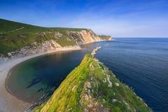 县多西特,英国美丽的海滩  库存图片