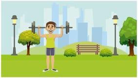 参与体育一个人在城市公园 皇族释放例证