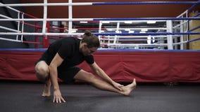 参与拳击年轻帅哥舒展和准备 解决在健身房,拳击台的战斗机后边 前面 股票视频