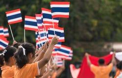 参与泰国的学生仪式100th aniversary  库存照片