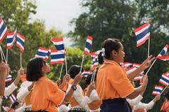 参与泰国的学生仪式100th aniversary  免版税库存照片
