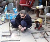 参与金属焊接工作者 库存照片