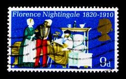 参加患者,周年1970年serie的弗罗伦斯・南丁格尔,大约1970年 库存照片