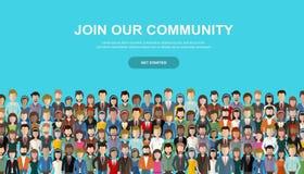 参加我们的公共 一起站立团结的人作为事务或创造性的社区人群  平的概念 向量例证