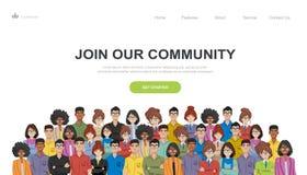 参加我们的社区 一起站立团结的人作为事务或创造性的社区人群  平的概念传染媒介网站临时雇员 库存例证