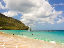 参加每年竞争的风船在加勒比 免版税库存图片