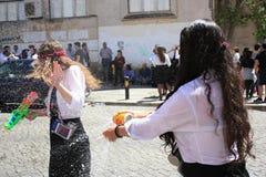 参加者在传统庆祝时 免版税库存照片