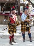 参加者在耶路撒冷`的节日`骑士以苏格兰人的形式在耶路撒冷守卫摆在摄影师的, I 免版税库存照片