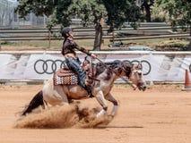 参加者在骑马竞争在马农场执行 库存照片