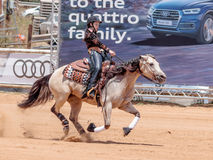 参加者在骑马竞争在马农场执行 免版税库存照片