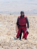 参加者在Hattin争斗垫铁的重建在1187个立场的在提比里亚,以色列附近的战场 图库摄影