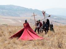 参加者在Hattin垫铁的重建在移动战场的1187作战在提比里亚,以色列附近 免版税库存图片