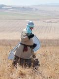 参加者在Hattin垫铁的重建在移动战场的1187作战在提比里亚,以色列附近 免版税库存照片
