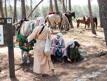参加者在Hattin垫铁的重建在1187在阵营的休息作战在竞选前在提比里亚,以色列附近 免版税图库摄影