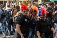 参加者在technoparade (梦想国家电子音乐festi 免版税库存图片