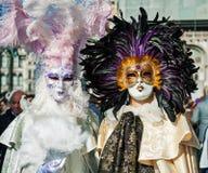 参加者夫妇戴着服装和面具与羽毛dur 免版税图库摄影