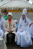 参加者Sabantuy鞑靼人的全国服装 库存图片
