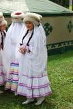 参加者Sabantuy鞑靼人的全国服装 免版税库存图片