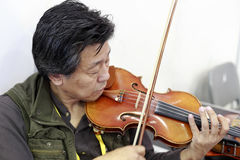 参展者弹小提琴 免版税库存图片